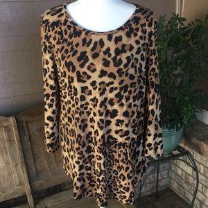 JM Collection Long Sleeve Animal Print Tunic